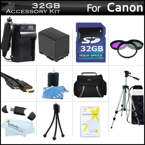 32GB Accessory Kit For Canon VIXIA HF S30 Flash Memory HD Camcorder Includes 32GB High Speed SD Memory Card + Extended (2100Mah) Replacement BP-819 Battery + Ac/Dc Charger + Deluxe Case + Mini HDMI Cable + 50'' Tripod + 3PC Filter Kit (UV-CPL-FLD) + More by ButterflyPhoto