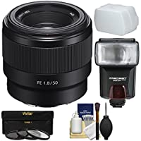 Sony Alpha E-Mount FE 50mm f/1.8 Lens 3 Filters + Flash + Diffuser + Kit A7, A7R, A7S Mark II Cameras