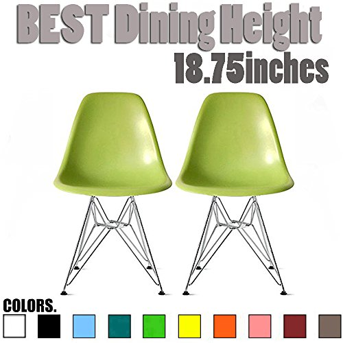 2xhome Set of Two (2) Green – Style Side Chair Chromed Wire Legs Eiffel Legs Dining Room Chair – Lounge Chair No Arm Arms Armless Less Chairs Seats Wooden Wood leg Wire leg Review