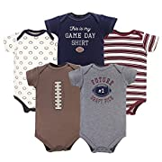 Hudson Baby Cotton Bodysuits, Football 5 Pack, 3-6 Months (6M)