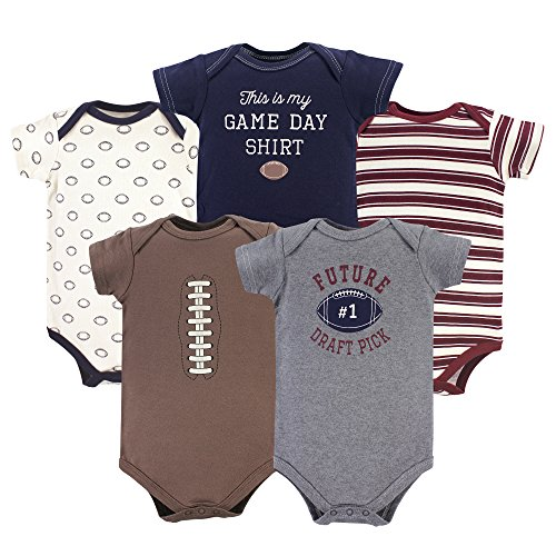 HUDSON BABY Unisex Baby Cotton Bodysuits, Football 5 Pack, 3-6 Months -