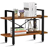 GreenForest 2 Tiers Bookshelf Wood and Metal Bookcase Industrial Style Open Wide Etagere Storage Rack 35.43 inch x 11.3 inch x 25 inch,Walnut