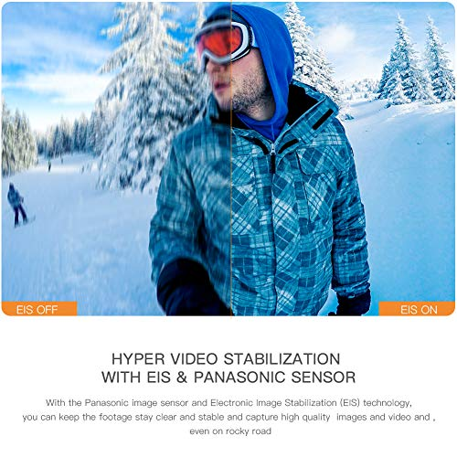 4K 20MP Waterproof 40M Camcorder with 170 Ultra-Wide Angle Sensor EIS Stabilization mAh