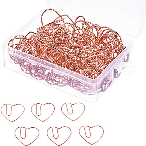 Jetec 100 Pieces 3 cm Love Heart Shaped Small Paper Clips Bookmark Clips for Office School Home (Rose Gold) -