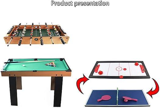 QWERTU Mesa de Juegos múltiples, 4 en 1 Mesa de Juegos de Deportes múltiples Mesa de Billar de fútbol Mesa de Ping Pong Mesa de Hockey de Velocidad Juego de construcción Divertido