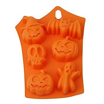SAVORLIVING Halloween Moldes para Muffin 6 Cavidades Silicona Hornear Molde para Pastel Gelatina Chocolate Caramelo Hielo Fondant Molde de Jabón Hecho a ...