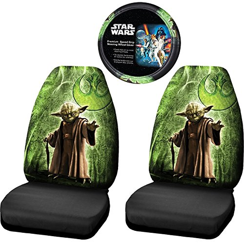 Licensed Star Wars Jedi Master Yoda Front Seat Covers Steering Wheel Car Truck (Star Wars Seat Cover Set compare prices)