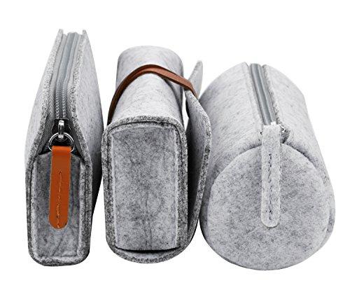 3 Porte Light Enroulé Grey Mou Coafit à Feutre Organisateur PièCes Crayons Trousse dw7qOI