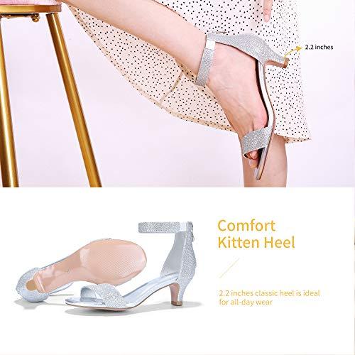 IDIFU Women's Low Kitten Heels Sandals Ankle Strap Open Toe Wedding Pump Shoes with Zipper