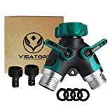 VISATOR Hose Splitter All Metal Body Garden Hose Splitter 2 Way with Comfortable Rubberized Grip,Easy to Open Valves 100% Secured, Bolted & Threaded. Easy Grip,Smooth Long Handles y Valve. (Green)