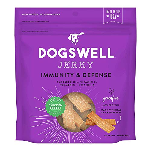DOGSWELL Immunity and Defense Chicken Jerky Dog Grain Free Treats 24oz Made in USA (1 Bag)