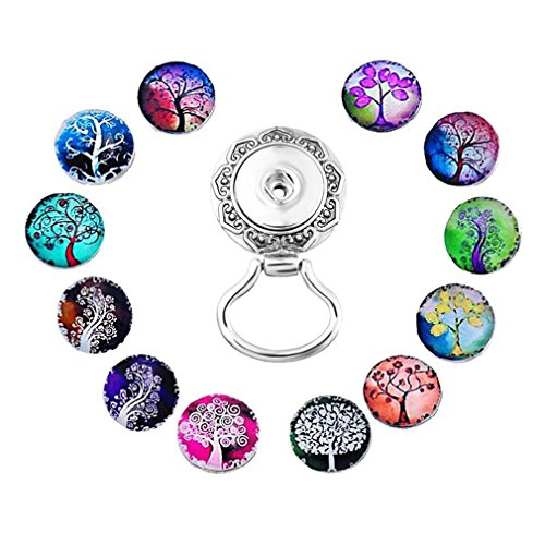 (Souarts Interchangeable Eyeglass Holding Snaps Brooch with Life Tree Buttons Butterfly Buttons Rhinestone Buttons Flowers Buttons (Life Tree Buttons) )