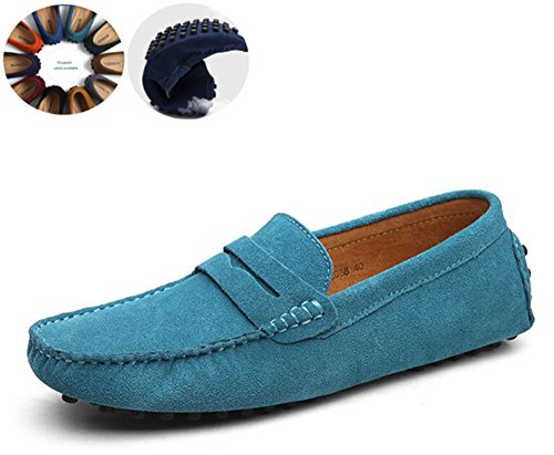Men's Classy Fashion Slip On Go Tour Penny Loafers Casual Suede Leather Moccasins Driving Shoes Flats Classic Boat Shoes Sky Blue 40