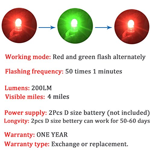 Botepon Boat Kayak Flash Lights Strobe Lights IP67 Waterproof for Navigation Lights, Marine Distress Lights, Emergency Lights, Fishing Net Marker Lights, Red and Green by Botepon (Image #5)