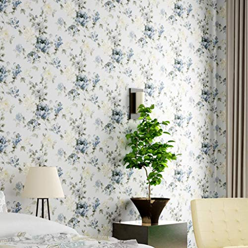 Cxmm Wallpaper Pastoral Style Flower Pattern PVC Wallpaper Waterproof Vinyl Wall Decoration for Bedroom/Living Room/TV Background Wall LMD-065 (Color : A, Size : -