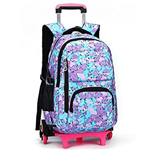 YUB High-Capacity School Bag Backpack for Girl and Boy Students Rolling Trolley Bags Climbing Stairs Six Wheels Color Heart-shaped