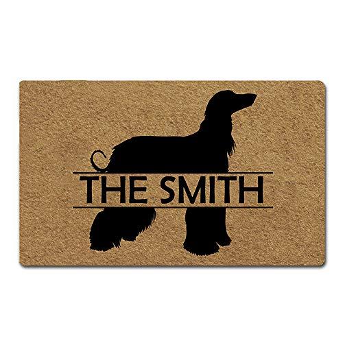 (Artsbaba Custom Personalized Dog Door Mat Welcome Pet Mat Rubber Non-Slip Entrance Rug Floor Mat Home Decor Indoor Doormat 30 x 18 Inches, 3/16