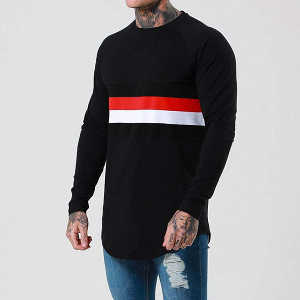 YAYUMI Mens Casual Long Sleeve Thin Pullover Splices Three Color for Four Seasons