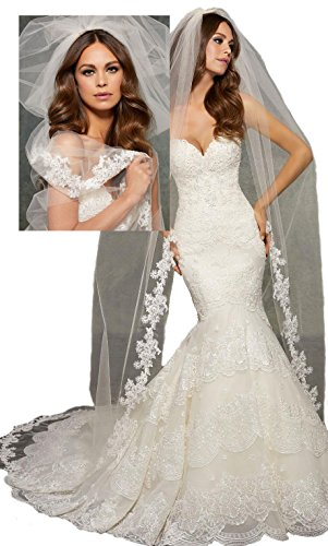 Passat Pale Ivory Single-Tier 3M Cathedral Wedding Veil Edged with Lace, Beaded with Pearls, Rhinestones, and Bugle Beads. VL1041 by Passat