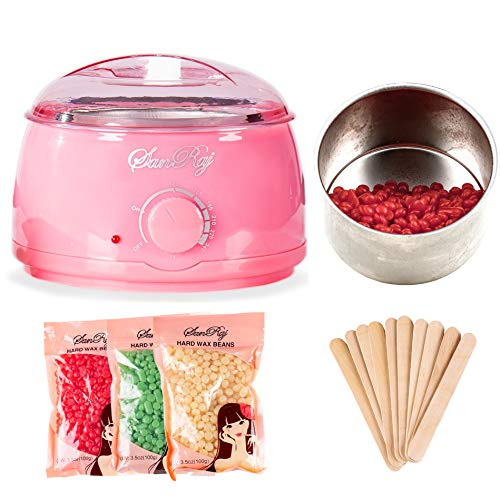 Wax Warmer Hair Removal Beauty Kit - Painless Waxing Kit Electric Pot Heater + 3 Flavors Hard Wax Beans + 10 Wax Applicator Sticks For Facial, Bikini, Arms, Legs, Under Arms, Eyebrow