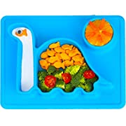 Dinosaur Toddler Plates - for Kids!  The Happy Good Dino PAD  from Freezer to Microwave to Table. This Toddler Dinosaur Silicone Plate Fits in a Ziplock Bag, Making It The Best Silicone Place Mat