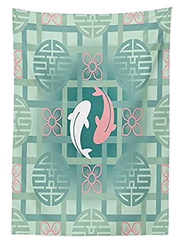Japanese Decor Tablecloth Dolphin Couple on Geometrical Featured Round and Squared Figures Backdrop Culture Work Dining Room Kitchen Rectangular Table (Squared Round Dining Room Table)