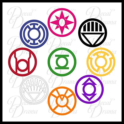 Lantern Corps SET Vinyl Decal | DC Comics Lantern Corps Green Yellow Orange Red Indigo Blue Pink White Black Star Sapphire | Cars Trucks Vans Laptops Cups Tumblers Mugs | Made in the USA ()