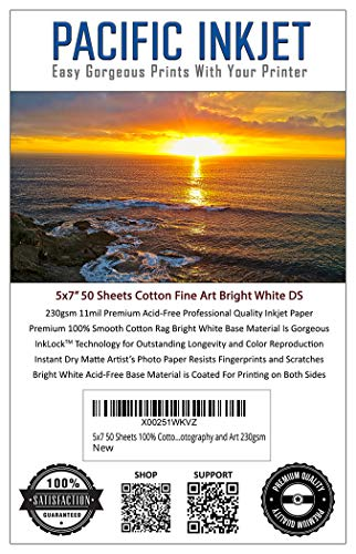 5x7 50-Sheets 100% Cotton Fine Art Matte Bright White Double Sided Inkjet Paper - Professional Paper for Use with Inkjet Printers - Printer Paper for Photography and Art 230gsm