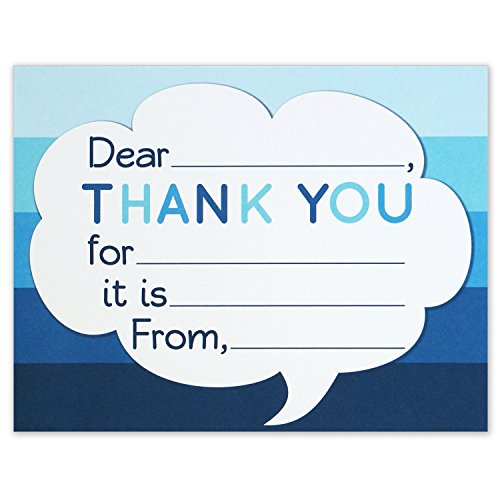 Thank You Note Cards - Kids Fill in the Blank Style - Blue Ombre - Flat Card Size 4.25 X 5.5 Inches - Pack of 15