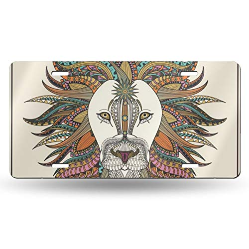 NLXZD Ethnic Lion Animals Print Novelty License Plate American Vehicle License Plate