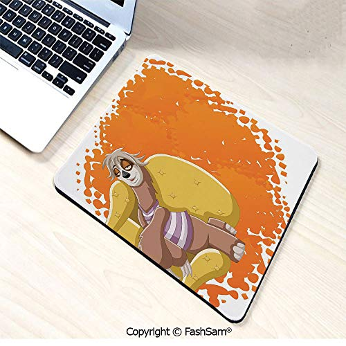 Desk Mat Mouse Pad Lazy Female Cartoon Sloth on Sofa Napping on Couch Dreaming Mascot Speech Bubble Decorative for Office(W9.85xL11.8)