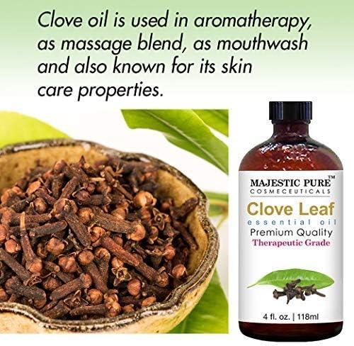 Majestic Pure Clove Essential Oil- Pure and Natural, Therapeutic Grade Clove Oil - 4 Ounces