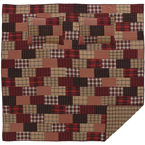 Crimson Plaid - VHC Brands Rustic & Lodge Bedding Wyatt Cotton Pre-Washed Patchwork Plaid Sham Queen Quilt Set Crimson Red