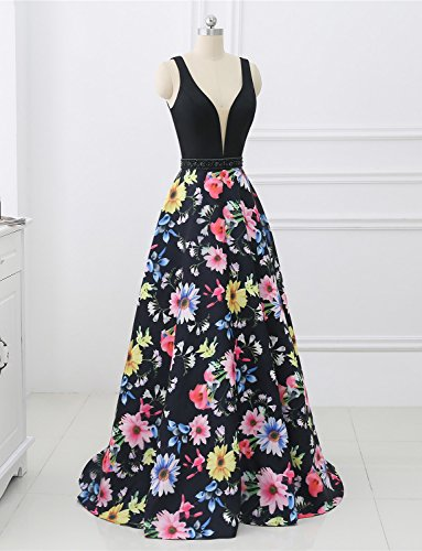 Satin Abendkleid Ausschnitt V Formales Rückenfrei Ballkleid Elegantes Erosebridal Blumen Druck qg0tnv5