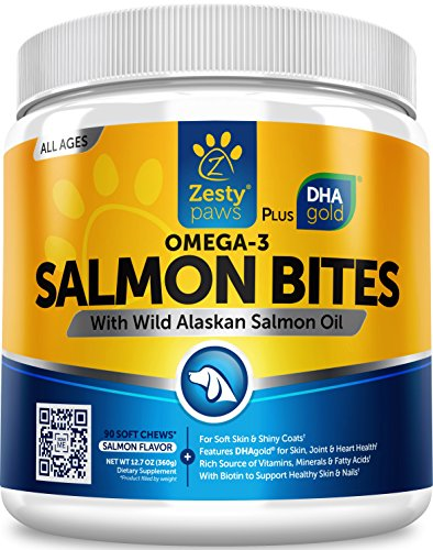 Salmon Fish Oil Omega 3 for Dogs – With Wild Alaskan Salmon Oil – Anti Itch Skin & Coat + Allergy Support – Hip & Joint + Arthritis Dog Supplement – Natural Omega-3 & 6 + EPA & DHA – 90 Chew Treats