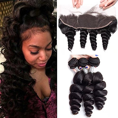 Maxine Loose Wave Bundles with Frontal 13x4 Ear to Ear Lace Closure 10a Brazilian Unprocessed Virgin Human Hair Weave Extensions 100g/pcs Natural Color (20 22 22 with -