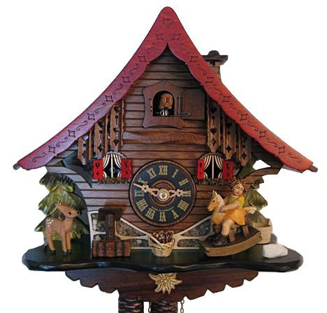 Engstler Cuckoo Clock - 1-Day Chalet Girl on Rocking Horse