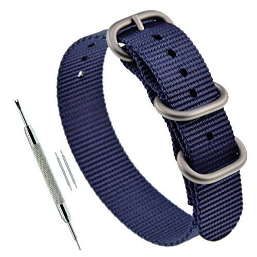 18mm Blue Men's NATO style One-piece Ballistic Nylon Watch Strap (Watch One Piece Get)