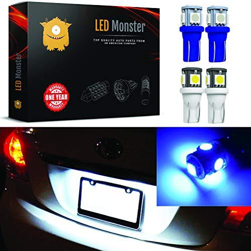 LED Monster Two Color License Plate Set 2x White + 2x Blue LED Bulbs 5 SMD Car License Plate Lights Lamp 12V 168 194 T10 5-SMD