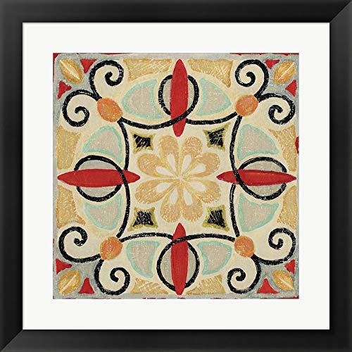 Bohemian Rooster Tile Square II by Daphne Brissonnet Fine Art Print with Wood Box Frame and Glass Cover, 20 x 20 inches