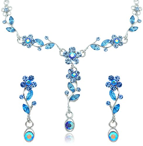 Blue Crystal Flower Petal Rhinestone Necklace and Earrings Jewelry Set [Bridal Jewelry] (Indian Dance Costumes And Accessories)