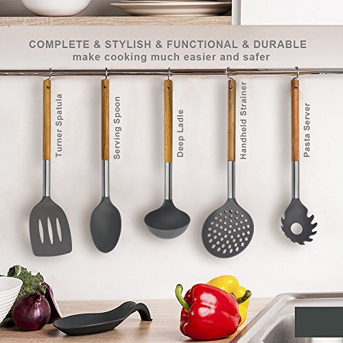 KALREDE Kitchen Utensils Set 5 Piece - Non Stick Nylon Cooking Utensils Set –Heat Resistant Kitchen Tools Set with Wooden Handle including Spatula, Pasta Server, Deep Ladle, Strainer and Spoon( Gray by KALREDE (Image #1)