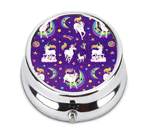(Unique TORO Pill Box Lisa frank unicorn background Design Round Travel Jewelry Case Pill Box With 3 Compartments )