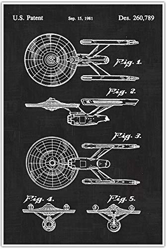 (Vintage Patent Star Trek USS Enterprise, Patent Poster, Blueprint Poster, Star Wars Art, star wars print garage decor man cave art, Gift, Poster Print, Patent)