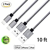 Image of ZTeanok Cord Lightning7 iPhone Charger 10' Nylon Braided Cord Lightning Cable to USB Charging Charger for iPhone 7/7 Plus/6/6 Plus/6S/6S Plus,Se/5S/5, iPad, iPod Nano 7 - Grey - 2 Piece