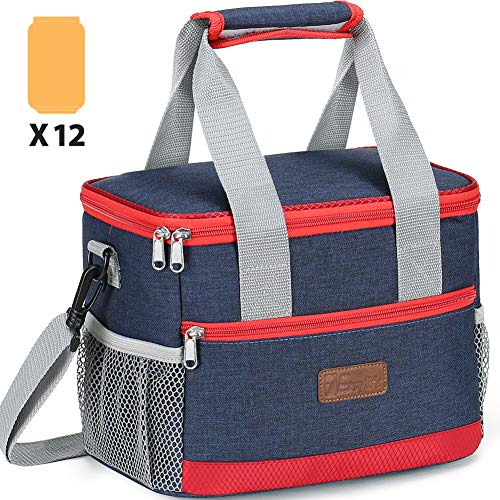 Insulated Lunch Bag for Women, 1Easylife Reusable Lunch Box for Office Work School Picnic Beach, Leakproof Cooler Tote Bag Freezable Lunch Bag with Adjustable Shoulder Strap for Kids/Adult