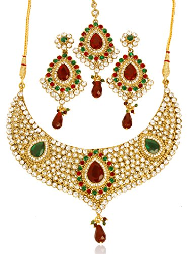 Touchstone Indian Bollywood artistically recreated Diamond Jewelry Style White red Green Rhinestones Faceted pear Shape Faux Ruby Emerald Heavy Bridal Designer Jewelry hasli Necklace Set for Women in