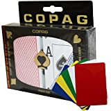 Copag Plastic Playing Cards Poker Size Dual Index Peek Red Blue Plus 5pcs Cut Cards