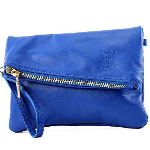 ladies modamoda bag small de ital Royal Bag leather leather T95 Blue Wrist Clutch bag shoulder bag UwqfUXr