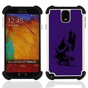 BullDog Case - FOR/Samsung Galaxy Note3 N9000 N9008V N9009 / - / Purple Poke /- H??brido Heavy Duty caja del tel??fono protector din??mico - silicona suave